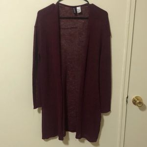 H&M Divided Burgundy Cardigan